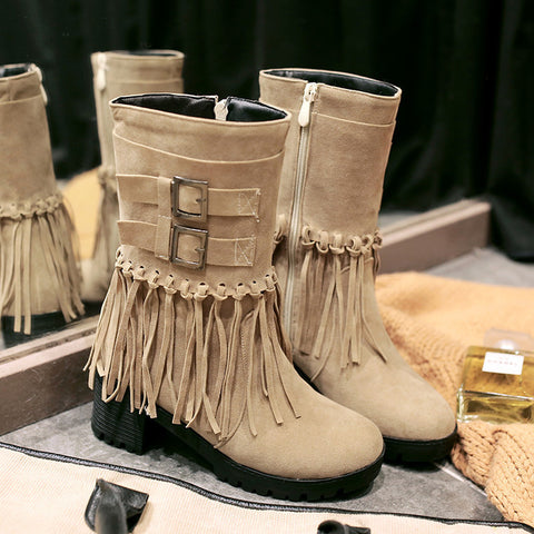 Suede Pure Color Round Toe Tassel Side Zipper Middle Block Heel Short Boots 6.5 Camel