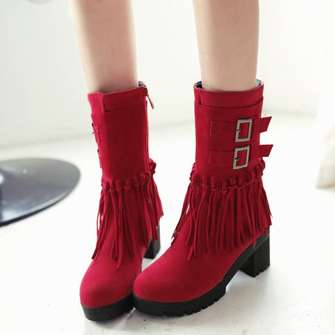 Suede Pure Color Round Toe Tassel Side Zipper Middle Block Heel Short Boots 7 Red