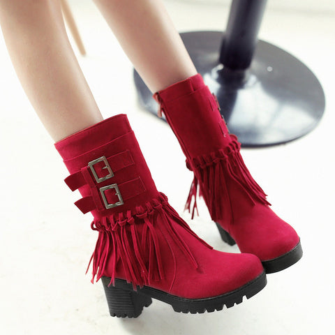 Suede Pure Color Round Toe Tassel Side Zipper Middle Block Heel Short Boots 7.5 Red