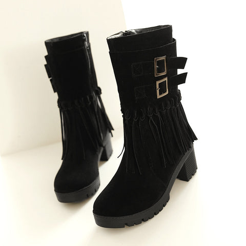 Suede Pure Color Round Toe Tassel Side Zipper Middle Block Heel Short Boots 6.5 Black