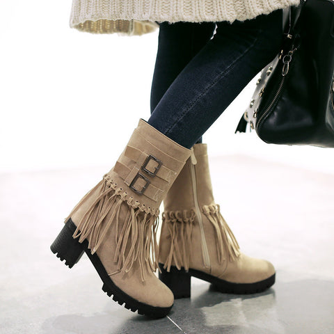 Suede Pure Color Round Toe Tassel Side Zipper Middle Block Heel Short Boots 7.5 Camel