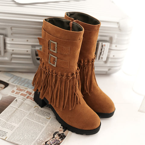 Suede Pure Color Round Toe Tassel Side Zipper Middle Block Heel Short Boots 6.5 Brown