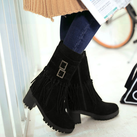 Suede Pure Color Round Toe Tassel Side Zipper Middle Block Heel Short Boots 7.5 Black
