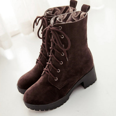 PU Round Toe Pure Color Middle Block Heel Lace Up Short Boots 6.5 Chocolate