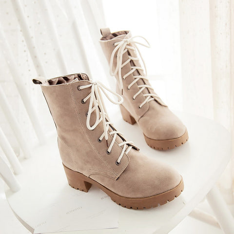 PU Round Toe Pure Color Middle Block Heel Lace Up Short Boots 6.5 Camel