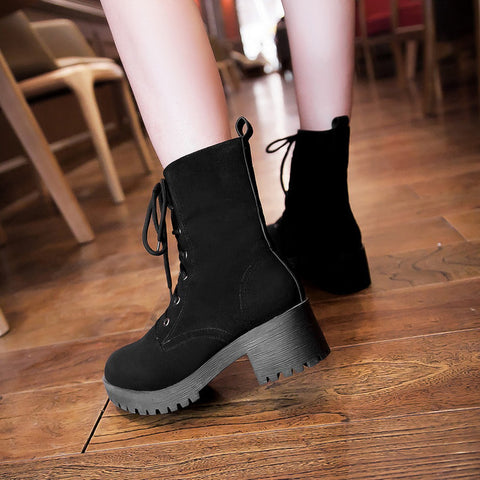 PU Round Toe Pure Color Middle Block Heel Lace Up Short Boots 7.5 Black