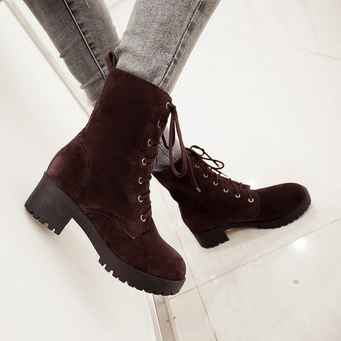 PU Round Toe Pure Color Middle Block Heel Lace Up Short Boots 7.5 Chocolate