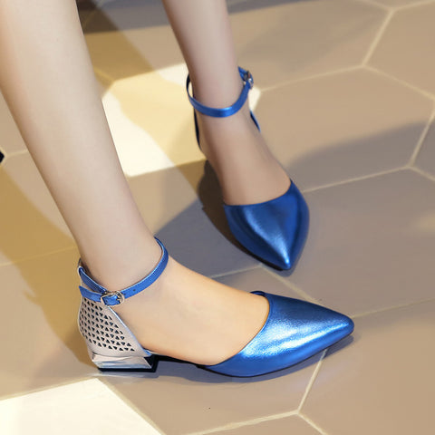 Mixed Color Pointy Toe Mirror Low Block Heel Back Hollow Carved Ankle Strap Sandals 8 Blue