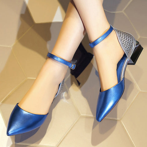 Mixed Color Pointy Toe Mirror Low Block Heel Back Hollow Carved Ankle Strap Sandals 7.5 Blue
