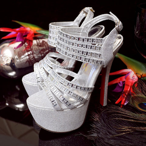 PU Pure Color Open Toe Stiletto Heel Ankle Strap Crystal Sandals 7 Silver