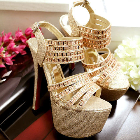 PU Pure Color Open Toe Stiletto Heel Ankle Strap Crystal Sandals 7 Gold