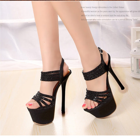PU Pure Color Open Toe Stiletto Heel Ankle Strap Crystal Sandals 7.5 Black