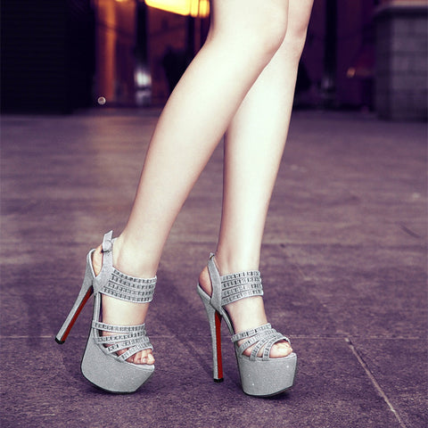 PU Pure Color Open Toe Stiletto Heel Ankle Strap Crystal Sandals 7.5 Silver