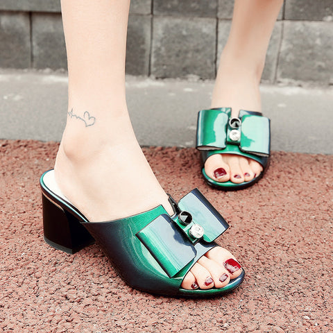Open Toe Block Heel Rivet Crystal Bowtie Mules 7.5 Green