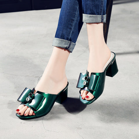 Open Toe Block Heel Rivet Crystal Bowtie Mules 6.5 Green