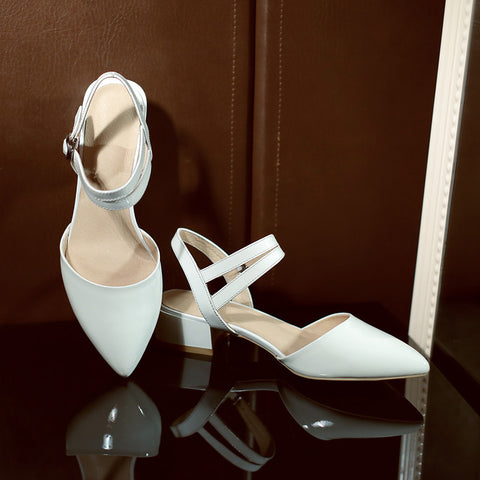 Patent Leather Pure Color Pointy Toe Chunkey Heel One-buckle Belt Sandals 7.5 White