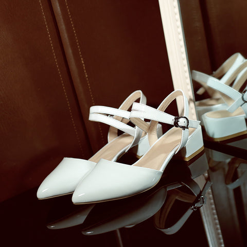 Patent Leather Pure Color Pointy Toe Chunkey Heel One-buckle Belt Sandals 6.5 White