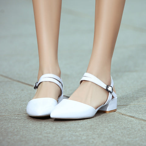 Patent Leather Pure Color Pointy Toe Chunkey Heel One-buckle Belt Sandals 7 White