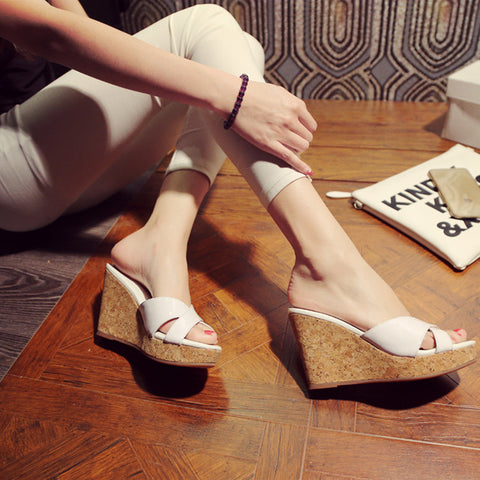 Patent Leather Candy Color Round Toe Wedge Heel Slipper 36 White
