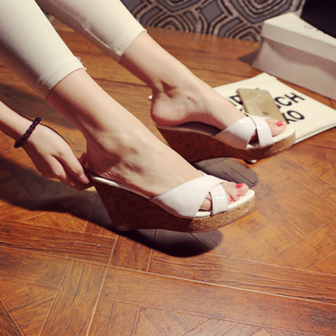 Patent Leather Candy Color Round Toe Wedge Heel Slipper 39 White
