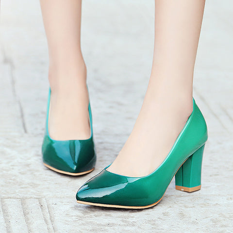 Patent Leather Gradient Color Pointy Toe High Block Heel Pumps 8.5 Green