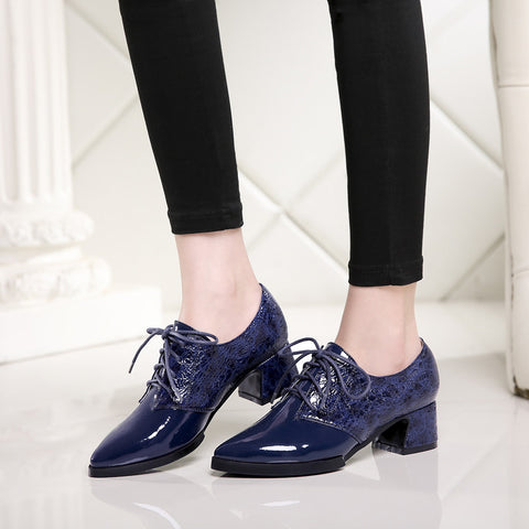Patent Leather Mixed Color Pointy Toe Block Heel Lace Up Oxfords 8.5 Blue