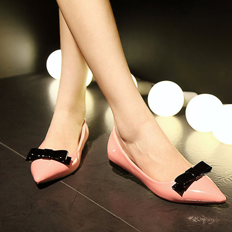 Patent Leather Mixed Color Pointy Toe Flat Heel Bowtie Loafers 7.5 Pink