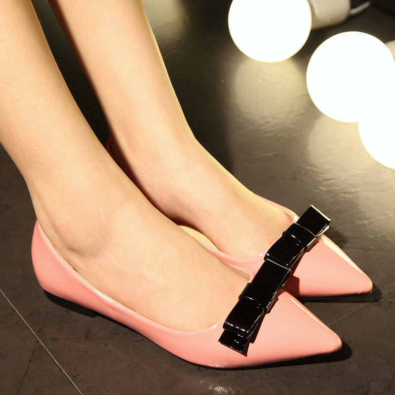 Patent Leather Mixed Color Pointy Toe Flat Heel Bowtie Loafers 7 Pink