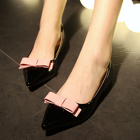 Patent Leather Mixed Color Pointy Toe Flat Heel Bowtie Loafers 7 Black