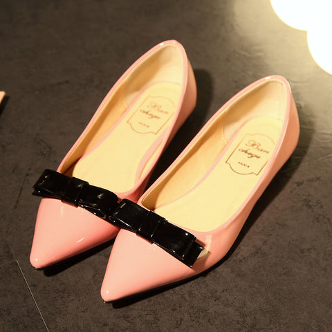 Patent Leather Mixed Color Pointy Toe Flat Heel Bowtie Loafers 6.5 Pink