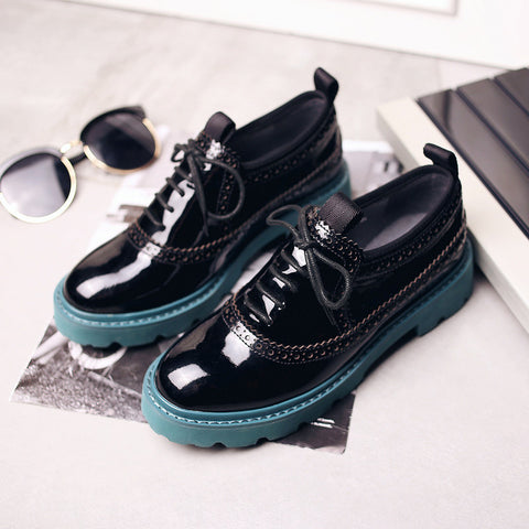 Patent Leather Mixed Color Round Toe Flat Heel Lace Up Brogues 9 Black