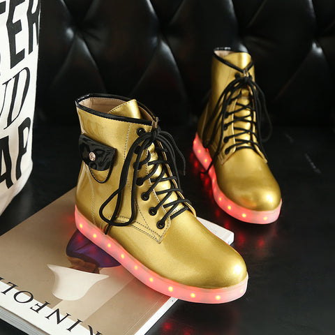 Patent Leather Round Toe Lace Up Pocket Embellished 7 Colors Led Light Sneakers 9.5 Gold