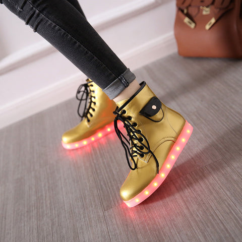 Patent Leather Round Toe Lace Up Pocket Embellished 7 Colors Led Light Sneakers 8.5 Gold