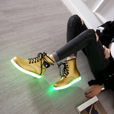 Patent Leather Round Toe Lace Up Pocket Embellished 7 Colors Led Light Sneakers 9 Gold