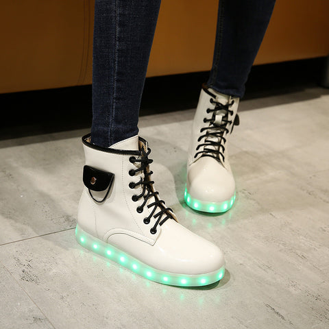 Patent Leather Round Toe Lace Up Pocket Embellished 7 Colors Led Light Sneakers 8.5 White