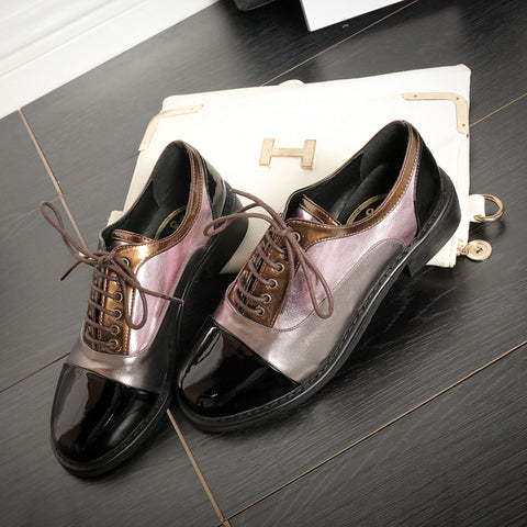Patent Leather Mixed Color Round Toe Low Block Heel Lace Up Oxfords 6.5 Coffee