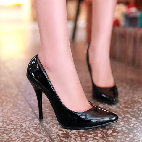 Patent Leather Pointy Toe High Stiletto Heel Pumps 8.5 Black