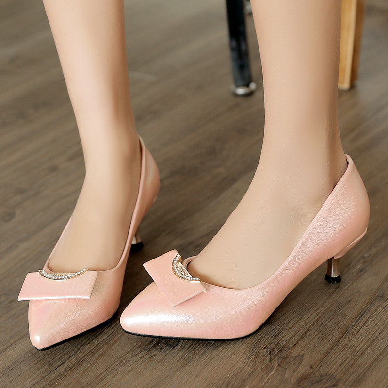 Patent Leather Pure Color Pointy Toe Kitten Heel Crystal Embellished Court Shoes 8.5 Pink