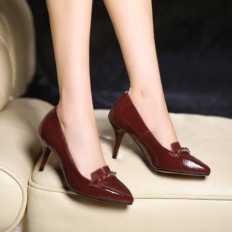 Patent Leather Pure Color Pointy Toe Stiletto Heel Pearl Loafers 9 Red