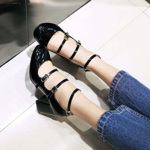 Patent Leather Pure Color Round Toe Block Heel Three Metal Buckle Belt Sandals 7 Black