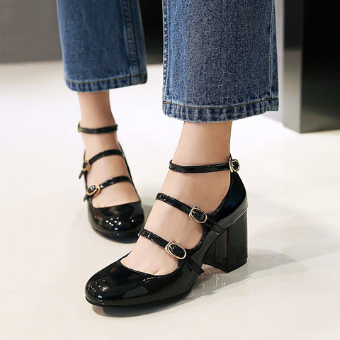Patent Leather Pure Color Round Toe Block Heel Three Metal Buckle Belt Sandals 7.5 Black