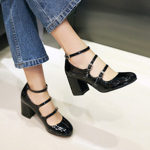 Patent Leather Pure Color Round Toe Block Heel Three Metal Buckle Belt Sandals 6.5 Black