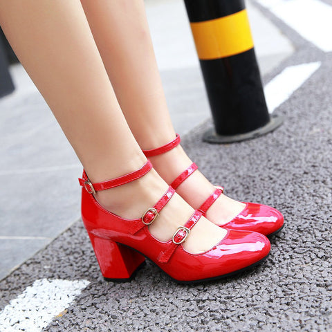 Patent Leather Pure Color Round Toe Block Heel Three Metal Buckle Belt Sandals 6.5 Red