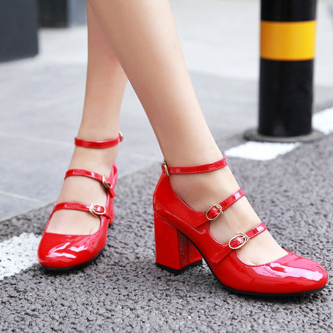 Patent Leather Pure Color Round Toe Block Heel Three Metal Buckle Belt Sandals 7 Red
