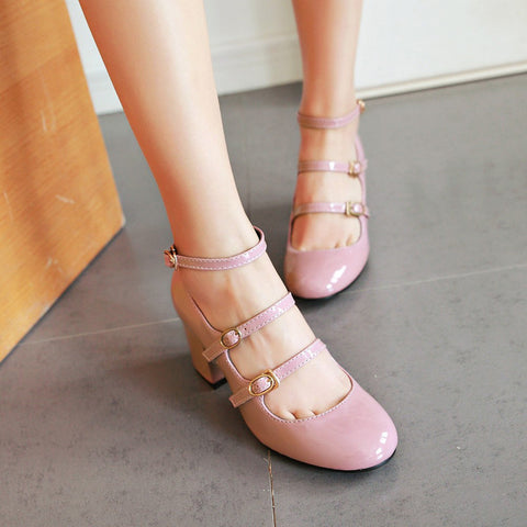 Patent Leather Pure Color Round Toe Block Heel Three Metal Buckle Belt Sandals 7 Pink