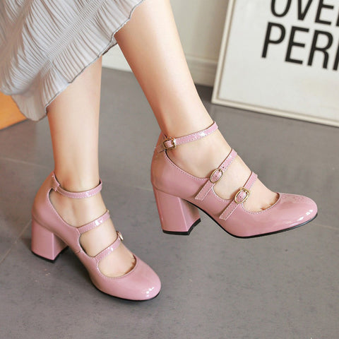 Patent Leather Pure Color Round Toe Block Heel Three Metal Buckle Belt Sandals 6.5 Pink