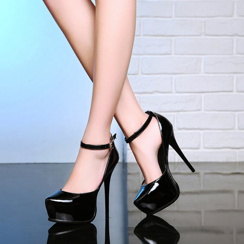 Patent Leather Pure Color Round Toe Stiletto Heel Ankle Strap Pumps 8.5 Black