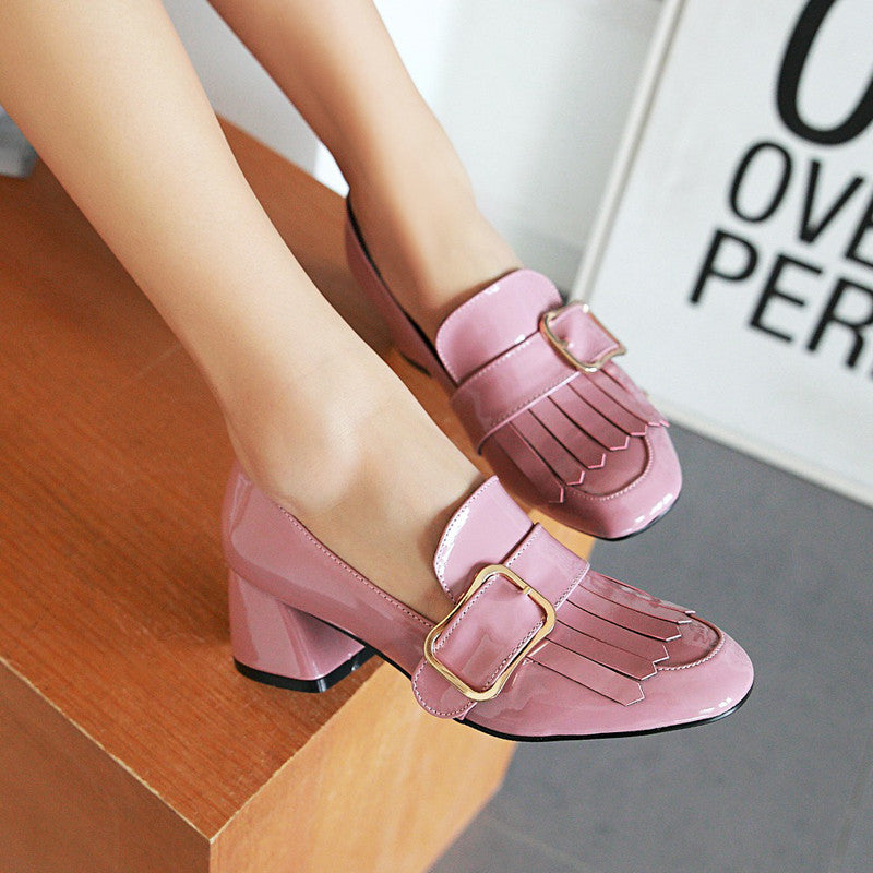 Patent Leather Pure Color Square Toe Block Heel Metal Embellished Tassel Loafers 8.5 Pink