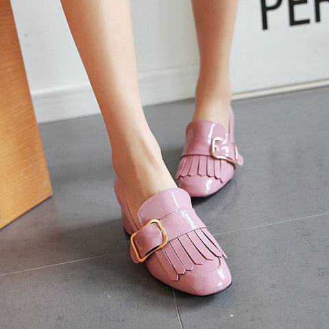 Patent Leather Pure Color Square Toe Block Heel Metal Embellished Tassel Loafers 9 Pink