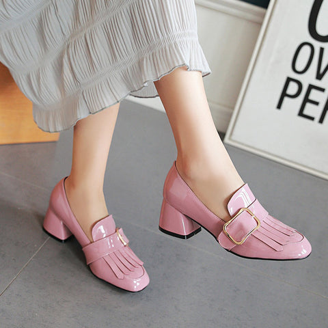 Patent Leather Pure Color Square Toe Block Heel Metal Embellished Tassel Loafers 9.5 Pink